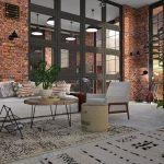 Stilvoll eingerichtetes Wohnzimmer in einer Gewerbeimmobilie