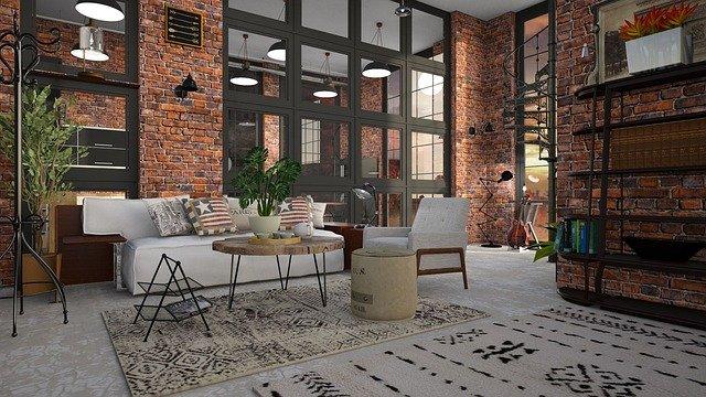 Wohnzimmer im Industrieambiente